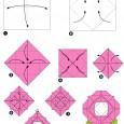 Origami fleur rose