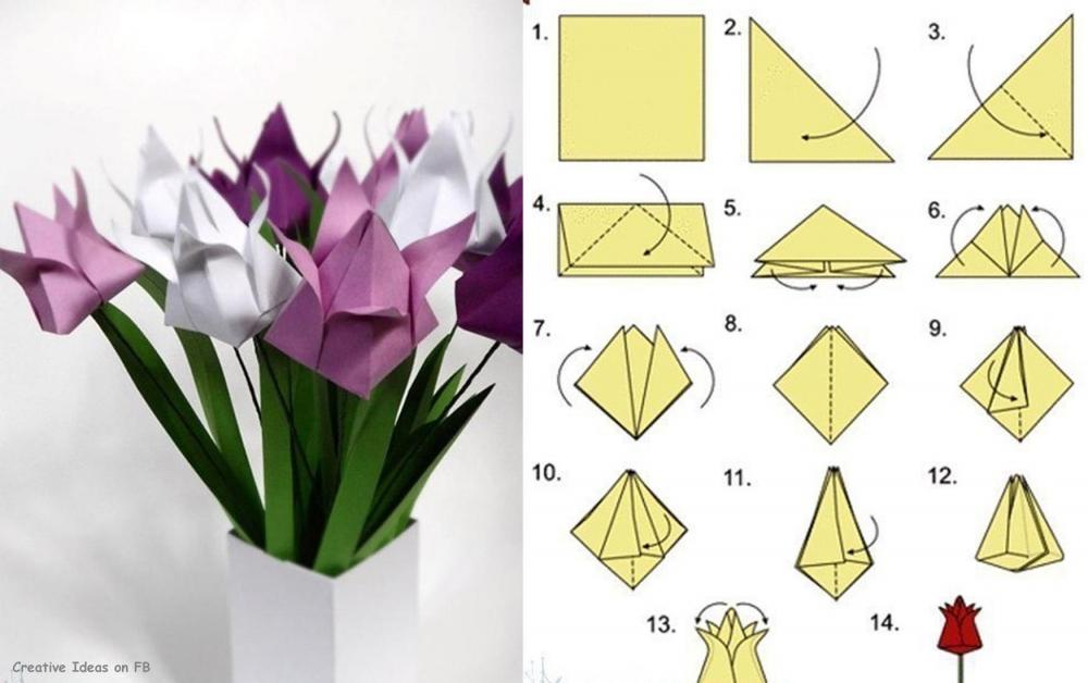 Тюльпаны из бумаги своими руками пошаговое легкие