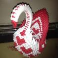 3d origami heart swan