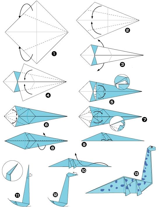 dinozaur origami