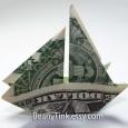 Dollar bill origami boat