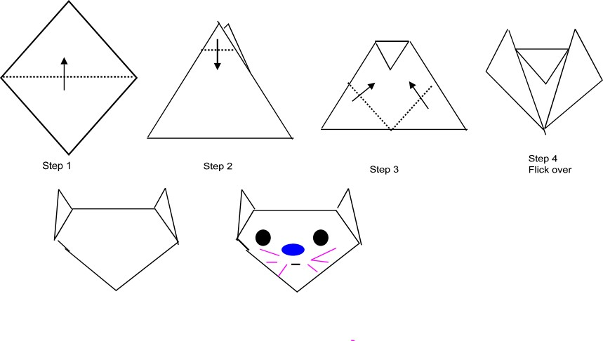 Оригами кошки из бумаг в картинках следующей главе