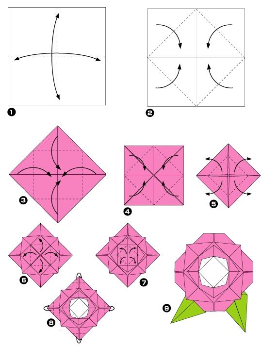 faire une rose en origami