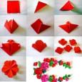 Flat origami flower instructions
