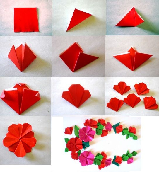 flat origami flower instructions