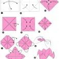 Fleur en origami avec instruction