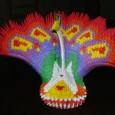 Modular origami peacock