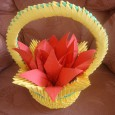Origami 3d flower basket