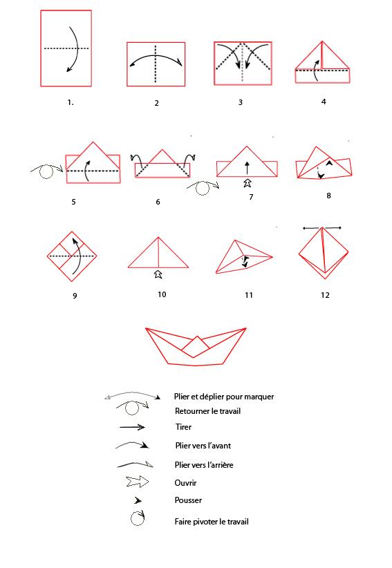 origami bateau fiche
