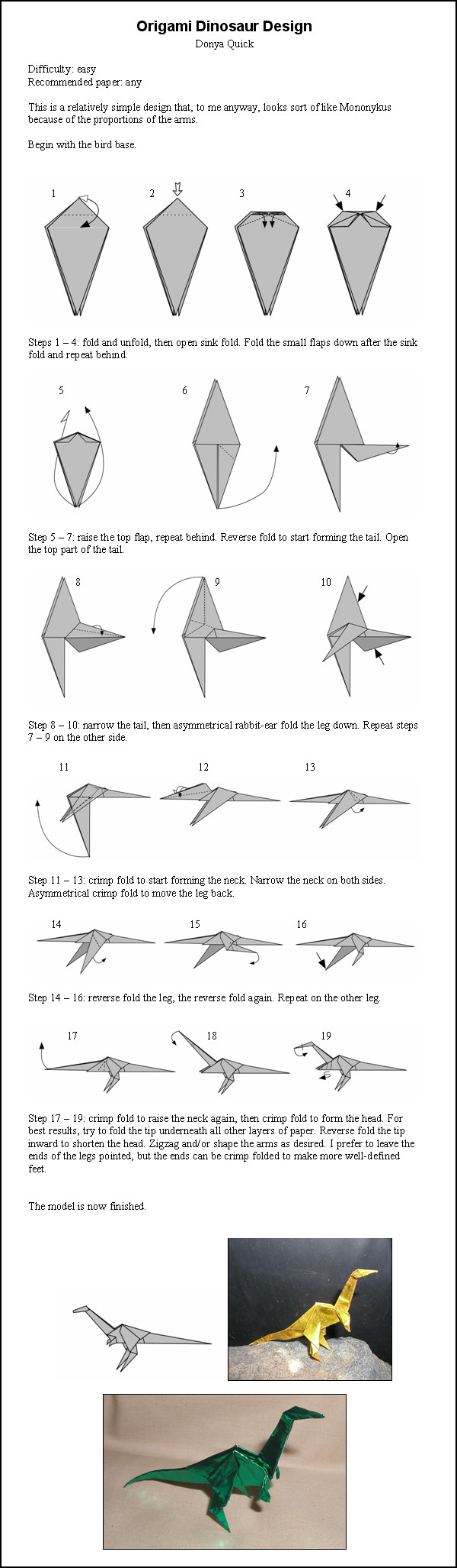 origami dinosaur instructions simple