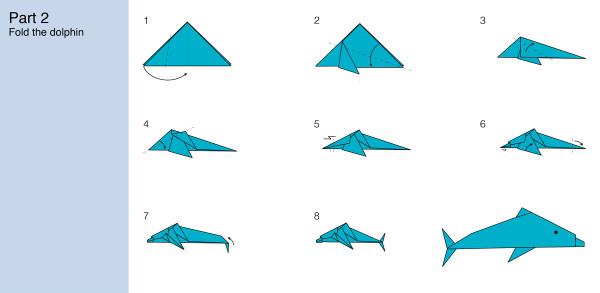 Как сделать из бумаги дельфина легко