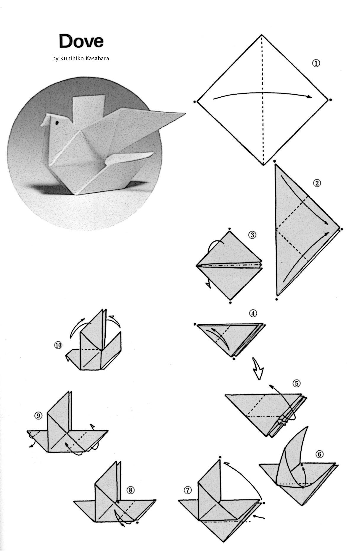 origami dove pattern
