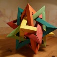 Origami five intersecting tetrahedra