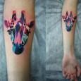 Origami giraffe tattoo