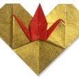 Origami heart crane