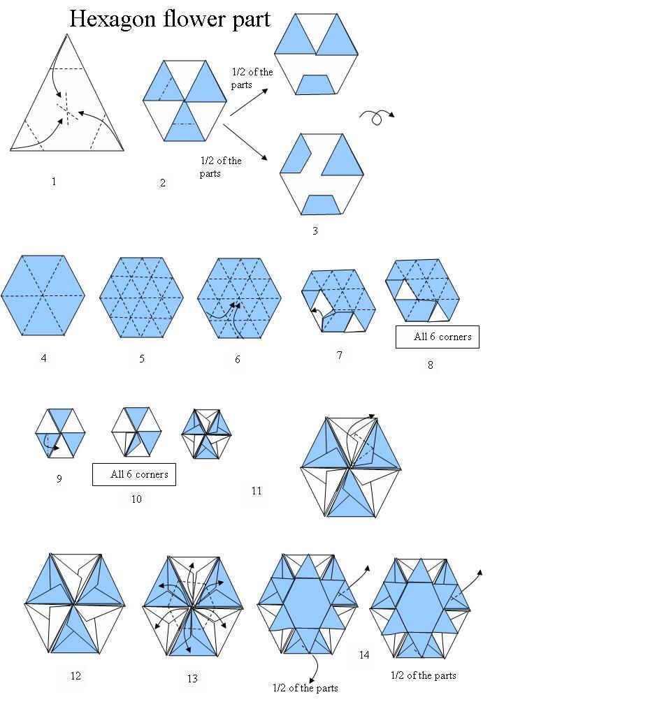 origami hexagon flower