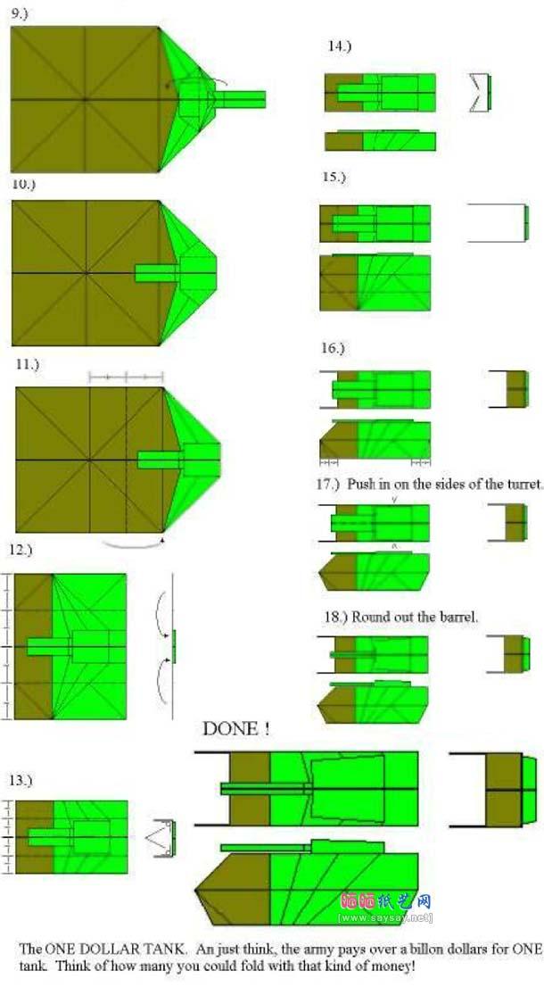 tutorial origami tank