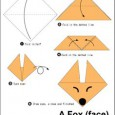 Origami wolf face
