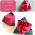 Pliage origami rose