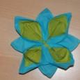 Pliage serviette lotus bicolore