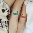 Swan origami tattoo
