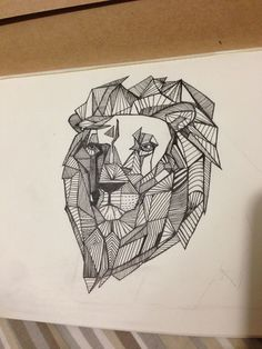 tatouage lion origami
