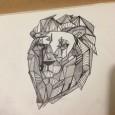 Tatouage origami lion