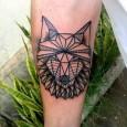 Wolf origami tattoo