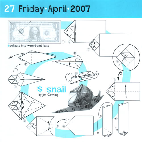 dollar bill origami snail instructions