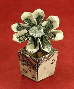 money origami rose with pot instructions