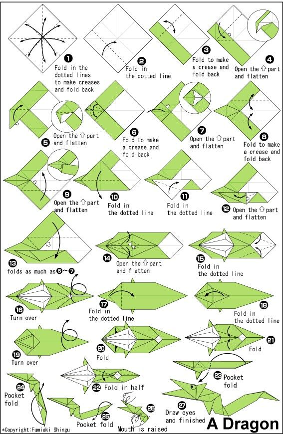 printable origami instructions for a dragon